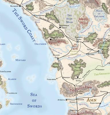 Setting Map - Baldur's Gate The Sword Coast Chronicles wiki